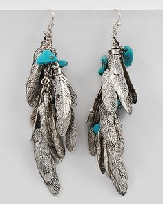 Turquoise and Feathers Earrings - Silver