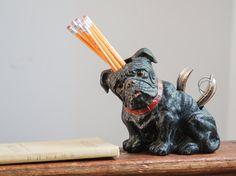 Vintage 1940's Large Bulldog Pug Dog Brush / Comb Shoe Shine Holder King New York Wood Planter Desk Accessory Glass Eyes Red Collar