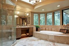 Plan 132-221 Master bathroom! Love the long windows and big bath tub. Looks like the perfect place to relax after a long day!