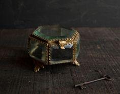 Glass Curio Jewelry Box- Rustic Victorian Hexagon