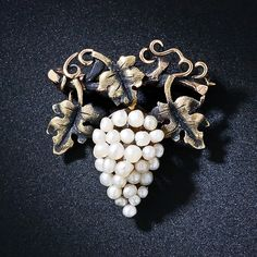 Antique Pearl Grape Cluster Pin