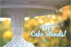 DIY cake stand- so much cheaper than bought- use cute plates and vases/glasses from charity shops or ugly ones and spray/stencil to your theme/colour choice!