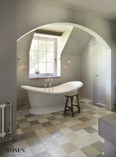 Neutral tones used for a calming affect on this bathroom