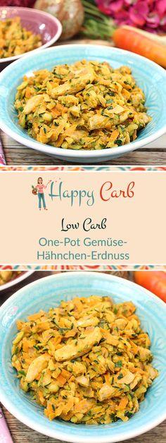 Hat mal wieder keine Linie das Essen, aber lecker ... Low Carb Rezepte von Happy Carb. https://happycarb.de/rezepte/fleisch/one-pot-gemuese-haehnchen-erdnuss/
