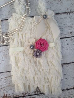 Vintage Ivory/Burlap/Rose Pink/Ivory Lace by BabyTrendzz on Etsy,
