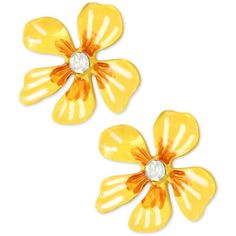 Betsey Johnson Gold-Tone Yellow Flower Stud Earrings ($25) ❤ liked on Polyvore featuring jewelry, earrings, yellow, mixed metal earrings, yellow jewelry, mixed metal jewelry, floral stud earrings and betsey johnson