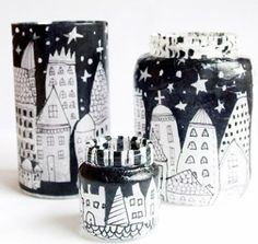 Create a set of these Christmas Village Lanterns to line on your mantel or shelves.
