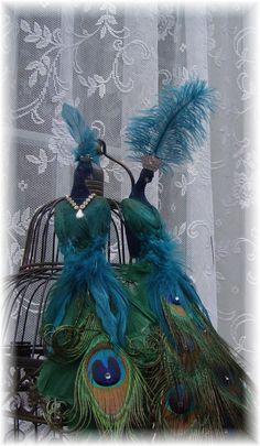 Exquisite Teal Peacock Lovebirds by Ivyndell on Etsy, $65.00