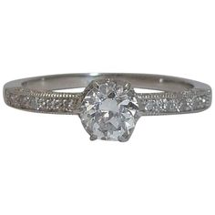 Edwardian Intricate and Graceful 0.85 Carat Diamond Platinum Ring | See more rare vintage Engagement Rings at https://www.1stdibs.com/jewelry/rings/engagement-rings