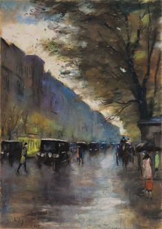 Lesser Ury 1861-1931 streetscene. Pastel