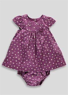 Girls Heart Print Dress and Knickers Set (Newborn-18mths)