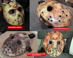 Fotos dos modelos Jason X, Remake 2009 e Freddy VS Jason com as marcas de batalha.