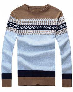 Coffee-Round-Neck-Diamond-Pattern-Mens-Sweater-LC13004-1.jpg