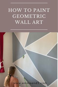 How to paint a geometric wall in a teenagers bedroom. This tutorial explains step by step how to do DIY paint decor using geometric shapes and frog tape. We used a grey and cream colour scheme for a cool bedroom wall ideas. Painting Walls Tips, Diy Wall Painting, Tape Painting, Geometric Wall Paint, Geometric Shapes, Wall Art Designs, Wall Design, Frog Tape Wall, Paint Decor