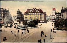 Karlsplatz/Stachus, Bayer and Prielmayerstraße (postcard 1909)