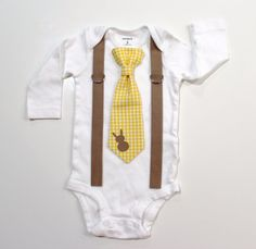 Easter Bunny Gingham Boys Outfit. Spring Tie & Suspender with Rabbit for baby or toddler boys. Sizes NB 3 6 9 12 18 24 month 2t 3t 4t 5t 6 8 on Etsy, $25.00