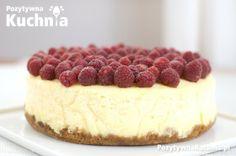#przepis na kremowy sernik z malinami na herbatnikowo-czekoladowo-karmelowym spodzie  http://pozytywnakuchnia.pl/sernik-z-malinami/  #kuchnia #ciasto #maliny