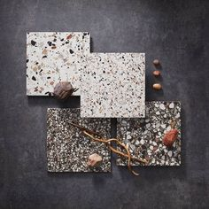 The perfect mix of a speckled pattern and fun color combinations, these terrazzo-inspired tiles effortlessly create a cool aesthetic 🤩  Tiles featured: Terrazo Bianco Macro, Terrazo Bianco Micro, Terrazo Nero Macro, + Terrazo Nero Micro. Bathroom Tile Designs, White Tiles, Black And White Colour, Tile Patterns, Terrazzo, Bathroom Inspiration, Floral Tie, Color Combinations, Inspired