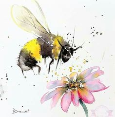 Watercolor And Ink, Watercolor Illustration, Watercolour Painting, Watercolor Flowers, Bee Painting, Paint Photography, Bee Art, Mellow Yellow, Art Plastique