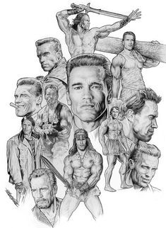 All movies, pencil art drawings, star illustration, arnold schwarzenegger, Celebrity Caricatures, Celebrity Drawings, Chuck Norris, Sylvester Stallone, Claude Van Damme, Star Illustration, Illustration Pictures, Conan The Barbarian, Movie Poster Art