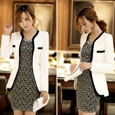White Black Fashion New Slim Ladies Womens Suit Coat Blazer Jacket Button