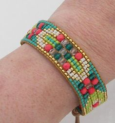 seed bead loom bracelet patterns | CoralTurquoise Bead Loom Bracelet by AdoraDesigns on Zibbet