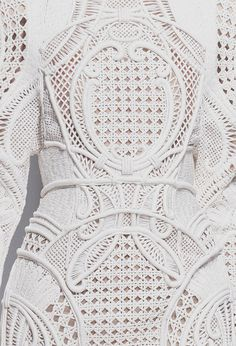 White dress detail with intricately woven panels; fabric manipulation; fashion close up // Balmain Spring 2013 rtw
