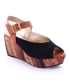 Love this Black Nena Wedge by MAKERS SHOES on #zulily! #zulilyfinds