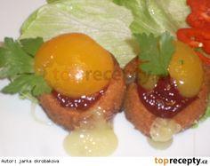 Smažené tvarůžky s marmeládou a broskví pro Rebeku Eggs, Breakfast, Food, Morning Coffee, Essen, Egg, Meals, Yemek, Egg As Food