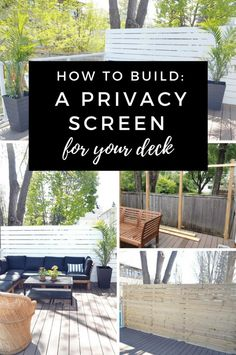 I didn't love being able to see over into our neighbours backyard.The solution? We built a privacy screen for our deck that has made ALL the difference.Not only does it provide the privacy we were after, but it has also made styling the deck so much easier! #patio #patiomakeover #patiodesigns #diyhome #patiodecor