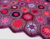 Crochet hexagon blanket in pinks and purples