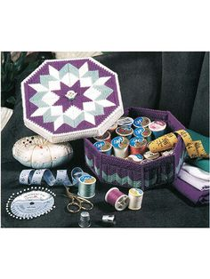 Store spools of thread, needles and small scissors in this pretty storage box. With its vibrant colors and eye-catching design, it will always be easy to find! This e-pattern was originally published in Heart & Home Expressions.