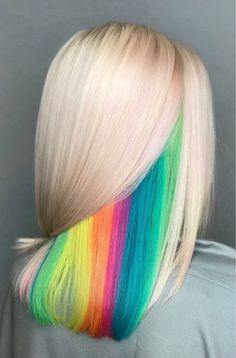Hidden Rainbow Hair Color Idea # rainbow Hair 21 Unicorn Hair Color Ideas We're Obsessed With Hair Dye Colors, Ombre Hair Color, Cool Hair Color, Rainbow Hair Colors, Colorful Hair, Ombre Hair Rainbow, Peekaboo Hair Colors, Vivid Hair Color, Bright Hair