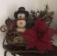 Primitive Christmas Grapevine Twig Sleigh Honey and Me Snowman Burlap Poinsettia #Primitive #Handmade
