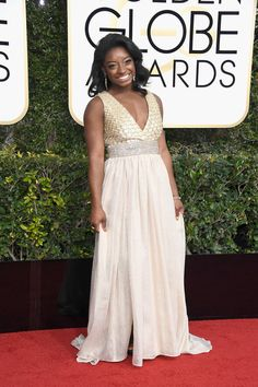 Gymnast Simone Biles attends the 74th Annual Golden Globe Awards at The Beverly Hilton Hotel on January 8, 2017 in Beverly Hills, California.