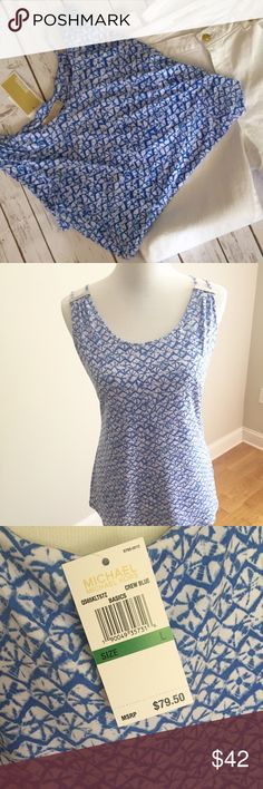 Summer Michael Kors top Michael Kors top with a summer beachy vibe! Lightweight & stretchy for a comfortable & chic look. Would look great with white cropped pants! Size large & roomy - measurements: underarm to underarm is 21 with stretch to 24 and length is 25. NWT & retails for $80. No trades, no lowball offers. Thanks for shopping my closet!  Michael Kors Tops