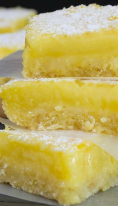 Shortbread Lemon Bars Recipe ~ These lemon bars are delicious. They are rich, creamy, and slightly tart with a wonderful shortbread crust. The best lemon bars. Lemon Desserts, Lemon Recipes, Just Desserts, Sweet Recipes, Delicious Desserts, Yummy Food, Jello Desserts, Easy Recipes, Cookie Recipes
