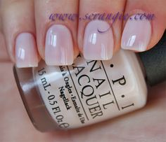 OPI Don't Burst My Bubble.  Sheer off-white.  Has a clean look as if it has a touch of blue or violet in the base rather than a yellowed/antique look.  This was a little streakier than the other two sheers but nothing terrible.
