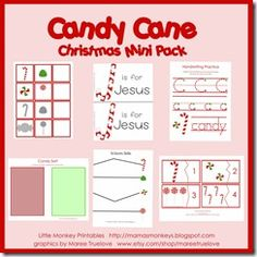 Free Candy Cane Mini Printable Pack from Our Little Monkeys