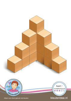 Buiding card difficulty 5 for block area, for kindergarten and preschool, kindergarten. Block Center, Block Area, Cube Pattern, Pattern Blocks, Pictures Of Bricks, Montessori, Math Lab, Math Blocks, Math Crafts