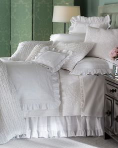 """""""Louisa Blanc"""" Bed Linens by Pine Cone Hill at Horchow."""