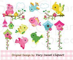 Sweet birds and bird house clipart digital by VerySweetClipart, $2.59