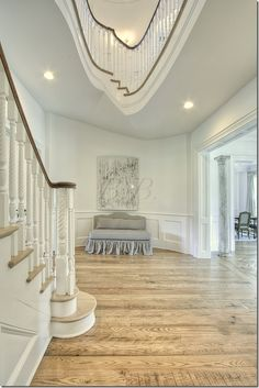 Love the view of the bannister above. Note the twist of the spindles.