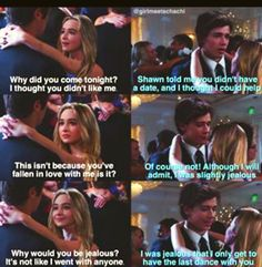 Is this from the show or fan-made> sadly fan-made but wishing it wasn't World Quotes, Tv Quotes, Funny Quotes, Funny Memes, Boy Meets Girl, Girl Meets World, Old Disney, Disney Love, Disney Memes