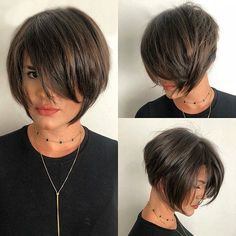 Short Hairstyles with Bangs 2019 Latest Trends Short Hairstyles for Fine Hair Short Messy Choppy Pink Highlighted Bob with Baby Bangs. Short Haircuts With Bangs, Short Hairstyles For Thick Hair, Short Hair With Bangs, Short Hair Cuts, Short Hair Styles, Hairstyle Short, Undercut Hairstyles, Cool Hairstyles, Short Angled Bobs