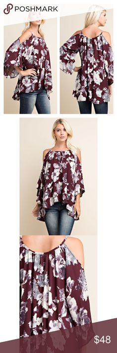 ❤️ Flowy Cold Shoulder Top Flowy could shoulder floral print top. Fall top. Very soft and comfy. Made with lightweight, semi sheer, woven material. 100% Polyester. Made in the U.S.A. Brand new. Price is firm unless bundled. тнαик уσυ  Tops Tunics