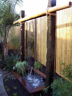 fontaine pour bassin, grande fontaine en bambou