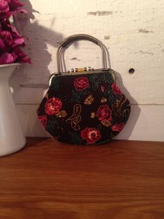 Vintage Beaded Cord Handbag with a Floral design in by CapeVintage