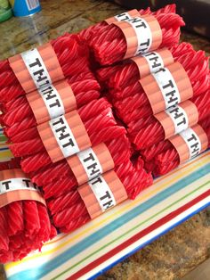 Minecraft TNT party snack - TNT printable, tape, and Red Vines licorice.