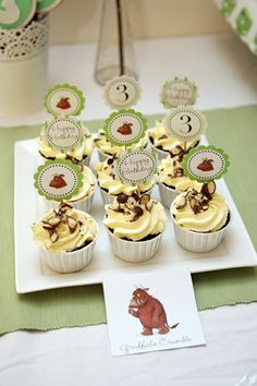 chocolate cupcakes with Italian meringue buttercream and crushed Maltesers - Gruffalo Party Third Birthday, 3rd Birthday Parties, Birthday Ideas, Gruffalo Party, Italian Party, Party Food And Drinks, Little Cakes, Childrens Party, Themed Cakes